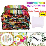 15/24/36/50 Colors Cotton DMC Cross Floss Stitch Thread Embroidery Sewing Skeins Multi Colors with 20pcs Plastic Thread Bobbins