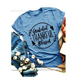 Plus Size Fashion Women Casual Graphic T-shirt Cotton Loose Fit Grateful Thankful Blessed Letters Print Tee