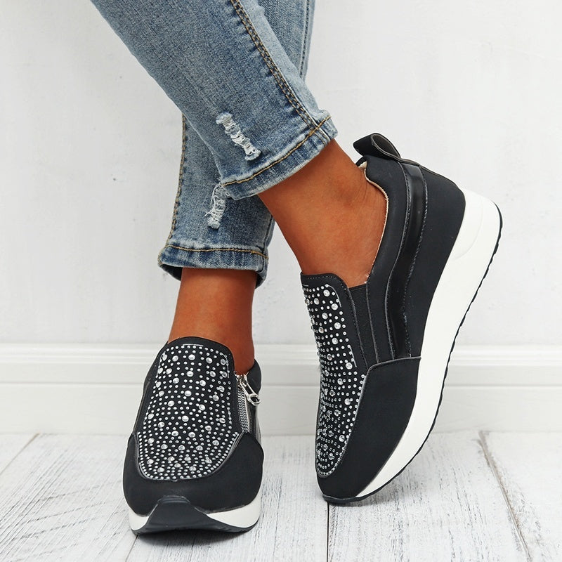 Women's Sequins  Casual Walking Shoes Thick Platform Sneakers Sport Fitness Heightening Shoes