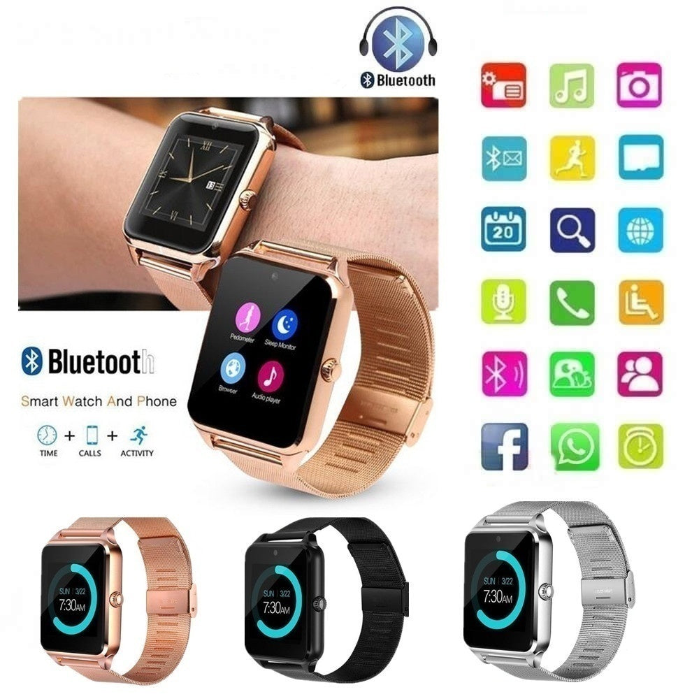 Z60 PLUS Bluetooth Smart Watch Men Watch Pedometer Sedentary Girl Watch Remind Sleep Monitor Lady Watch with Remote Camera compatible with Smart Phone