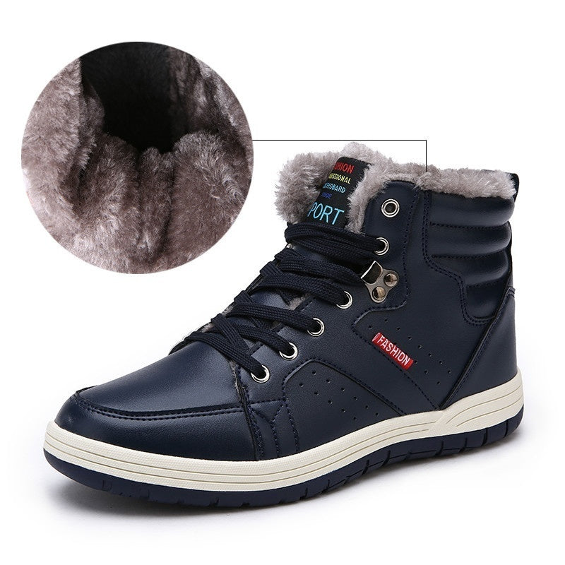 Fashion Men Winter Snow Boots Keep Warm Boots Plush Ankle Boot Snow Fur Lined Boots High-top Boots Outdoor Snow Boots
