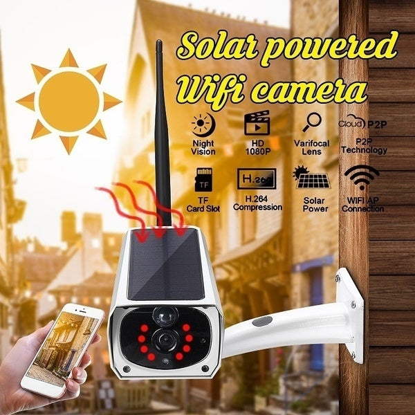 Newest Wireless Solar Powered Camera HD 1080P Night Vision Surveillance IP WiFi Motion Sensor APP Control Energy Saving Remote Optional TF Card Support