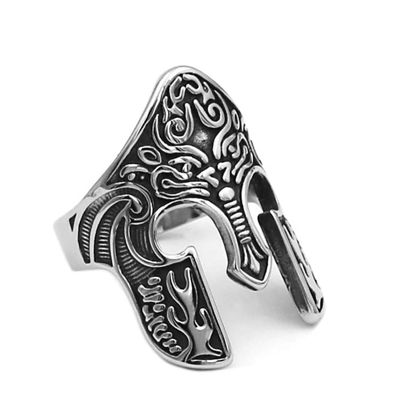 316L Fashion retro Stainless Steel Man Ring Warrior Ring Scandinavian Ring Viking Totem Mask Amulet Ring Men'S Fashion Jewelry
