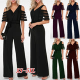 Women Fashion Sexy Off Shoulder Plus Size Summer Romper Wide Leg Trousers Womens Casual Office Work High Waist Mesh Overalls Playsuits