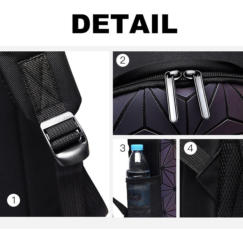 New Fashion Women Geometric Pattern Stitching Laser Rubik's Shoulder Bag Patent Leather Rhombic Travel Big Backpack Student Bag Folding Unisex Bag