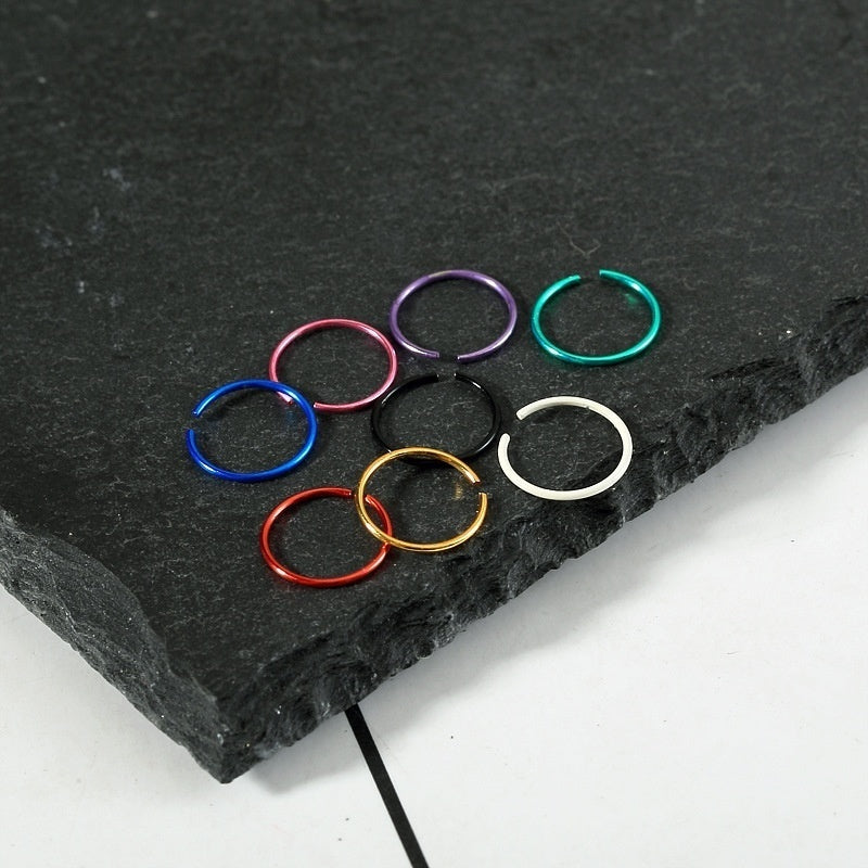 40pcs/box Color Stainless Steel Nose Ring