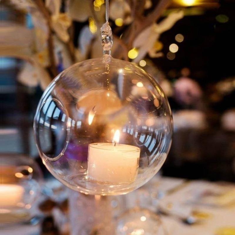 1/5/10pcs Romantic Transparent Glass Candle Holder Candle Cover Hanging Glass Ball Tea Light Holder Home Wedding Party Decor 12cm/10cm/8cm/6cm (No candle)