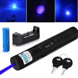 5W Strong Power 395nm 12 line Blue Laser Pen Pointer with 5 Caps Visible Beam Burning Blasting Flashlight Focus Military Burn Match+battery charger+18650 batteries