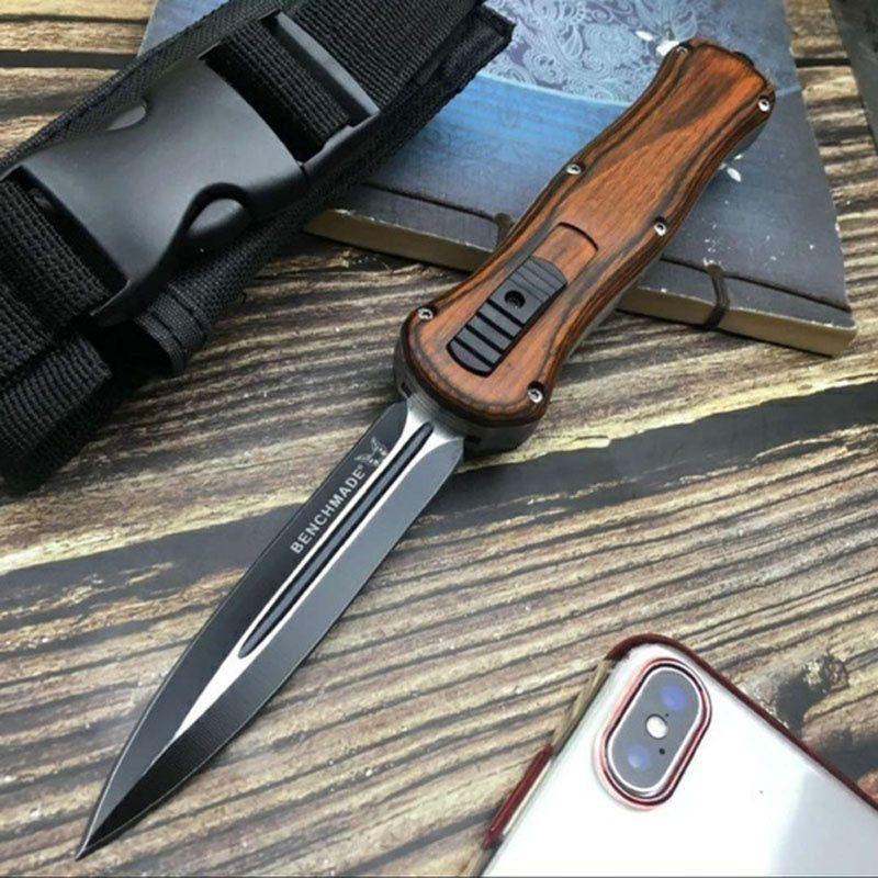 9'Benchmade Tactical OTF Automatic Spring Knifes Outdoor Hunting Stiletto Double-edged Fluted EDC Multifunctional Self-defense Pocket Knife Survival Camping Folding Tool Knifes 2Types
