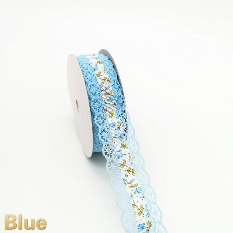 5 Yards 25mm Handmade bud silk Ribbon Satin Lace Embroidery Bow Crafts Decoration Sewing Crafts DIY