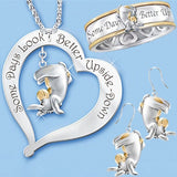Fashion 925 Silver 18K Gold Plated Two Color Cute Heart Donkey Necklace Ring Earrings Birthday Gift Engagement Jewelry Set