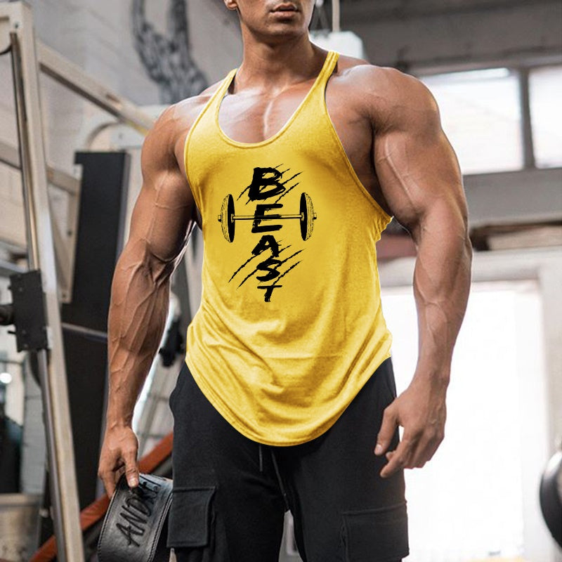 Men's Beast Mode Bodybuilding Stringer Tank Top Gym Singlet Fitness Athletic Shirts