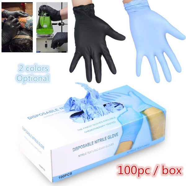 100 Pieces / Box 2 Colors Tattoo Nitrile Gloves Powder-free Oil-proof Protective Gloves Convenient Laboratory Inspection Gloves Surgical Gloves