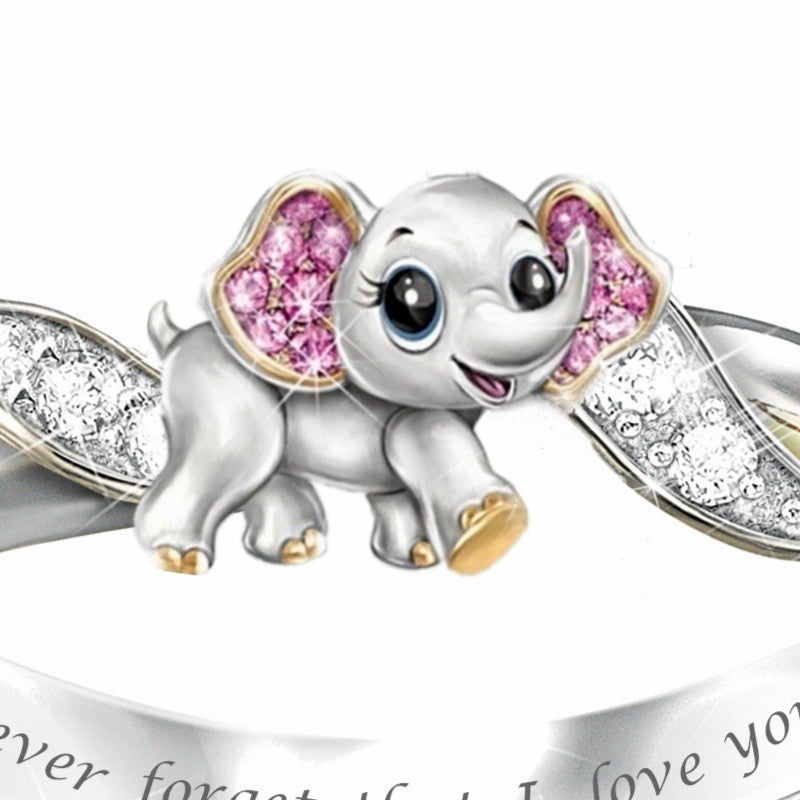 Never Forget I Love You'' Exquisite Fashion 925 Silver Cute Pink Elephant Crystal Diamond Engagement Ring Fashion Accessories Lover's Gift Lovers Ring Anniversary Gift Jewelry''
