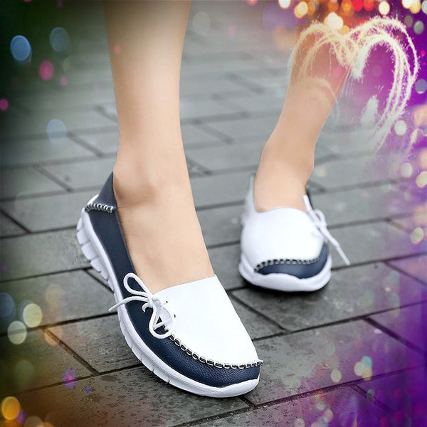 Womens Fashion Doug Shoes Soft Leather Shoes Women Moccasins Shallow Breathable Casual Loafers Female