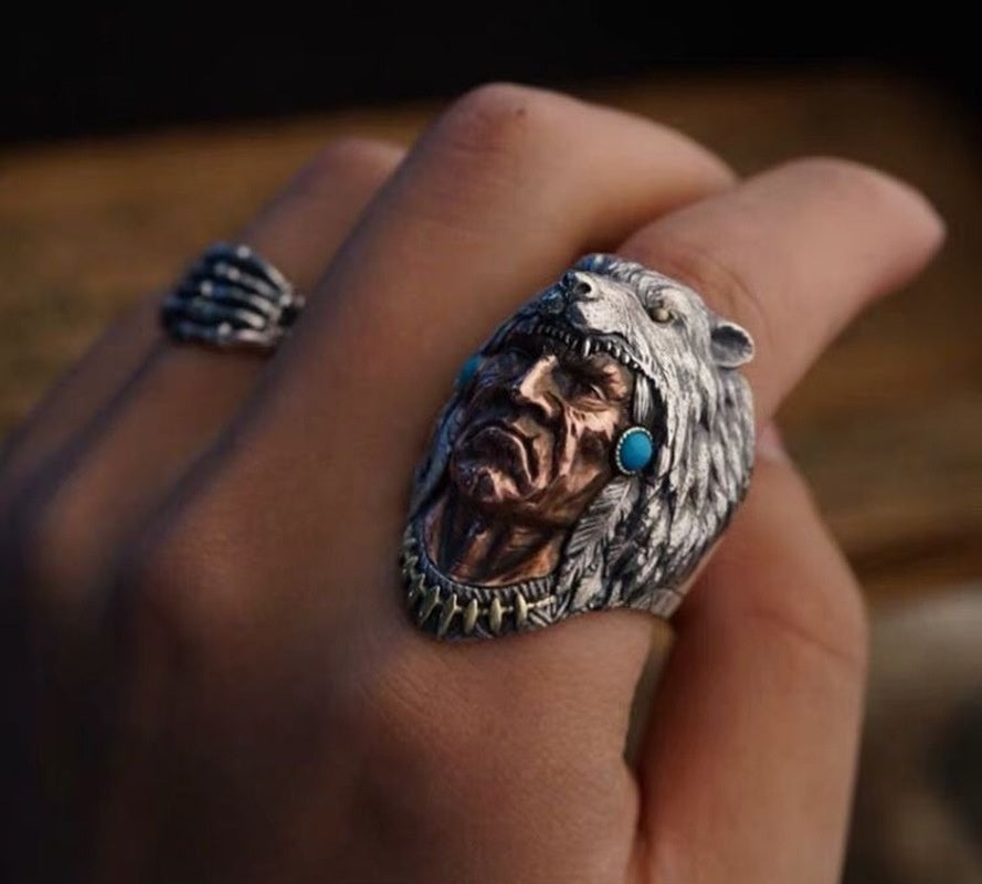 Men's Domineering Indian Wolf Ring Men's Ring Highest Quality Solid 925 Silver Native American Wolf Ring Retro Hip Hop Men's Ring Size7-13