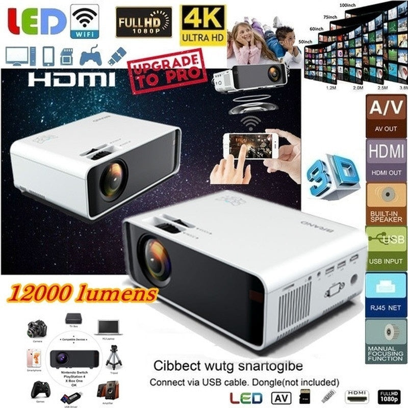 New projector listed Mini WiFi Mobile Phone with The Same Screen Projector 3D 1080P HD Home Theater Projector Portable Mini Video Projector 4.0 Inch LCD Screen Office Top Projector