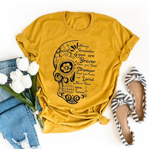 'You Are Braver Stronger Loved' Print Tee Women's Fashion Sugar Skull Graphic T-shirt Bohemia Blouse Inspiring Words Short Sleeves Shirt Lady Girl Summer Casual Fitness Boho Yoga Top Plus Size