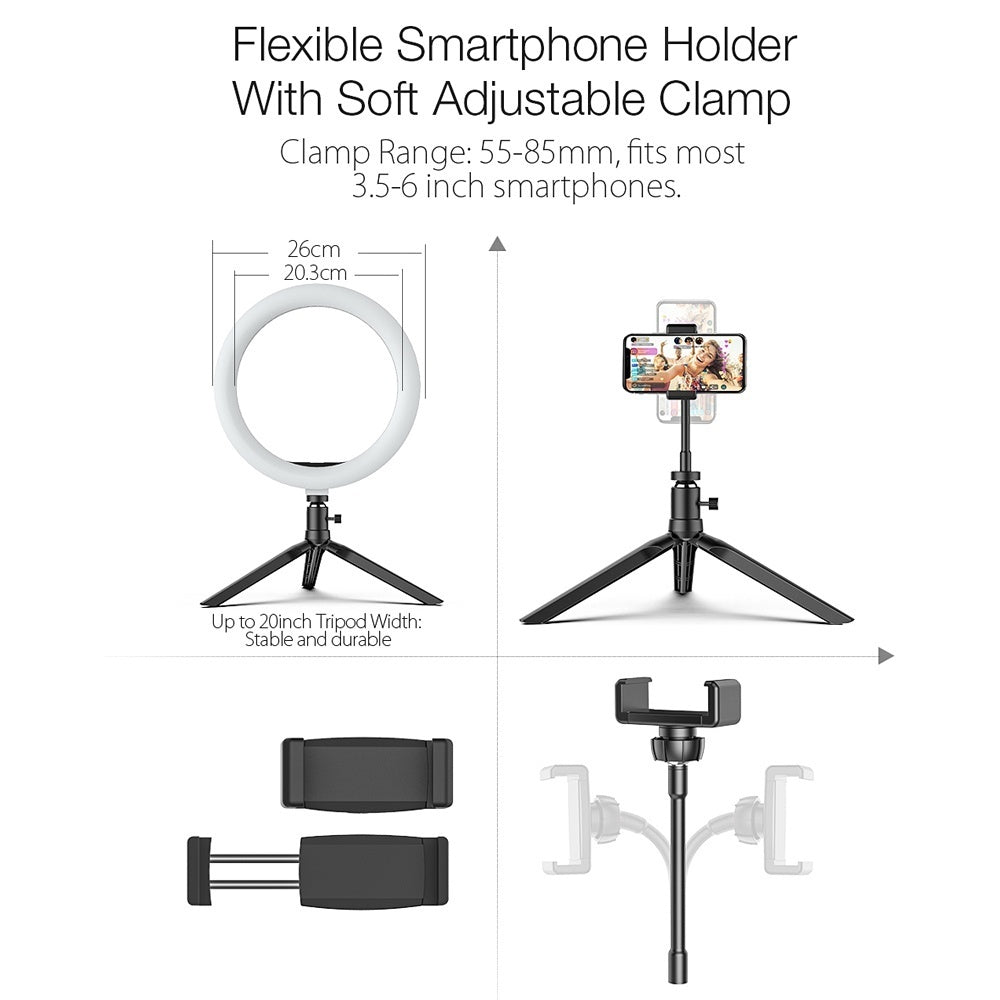 BlitzWolf BW-SL3 11 Brightness Adjustable + 3 Color Temperature Tripod Stand Fill Light LED Selfie Ring Light with Phone Holder bluetooth Remote Live Removable