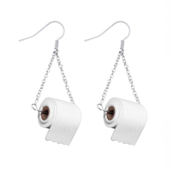 Women Silver Toilet Paper Roll Earrings Hook Earing Polymer Clay Fashion Roll Up Paper Ear Wires
