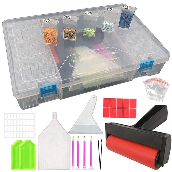 5D Diamonds Painting Tools and Accessories Kits with Diamond Painting Roller and Diamond Embroidery Box for Adults or Kids