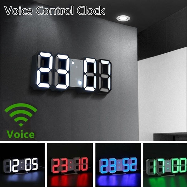 Modern 3D LED Digital Clock Glowing Night Mode Brightness Adjustable Electronic Table Clock Digital Wall Hanging Clock Home Bedroom Alarm Clock with Snooze Date Temperature Function