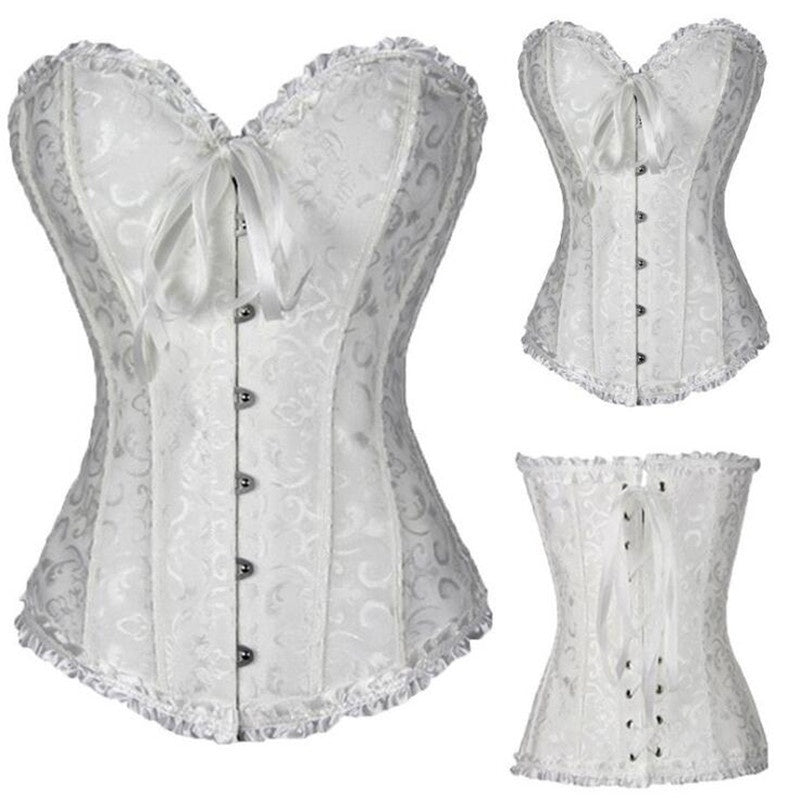 Plus Size Women Satin Lace Up Overbust Corset Waist Training Corsets Bustier Top Corselet XS-6XL