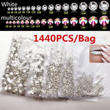1440Pcs Glass Rhinestones for Craft Clothing Hot Fix Ab Crystal Stone Applique Hotfix Nail Art Decorations for Wedding Dress
