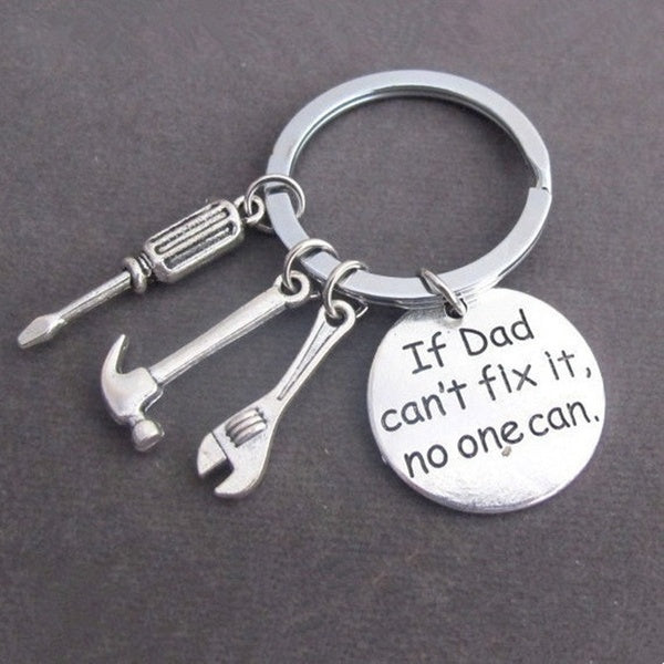 1Pc Daddy Key Ring''If Dad Can'T Fix No One Can'' Hand Tools Key Chain  Unique Hammer Key Chain Father S Day Birthday Christmas Gifts From Daughter Son