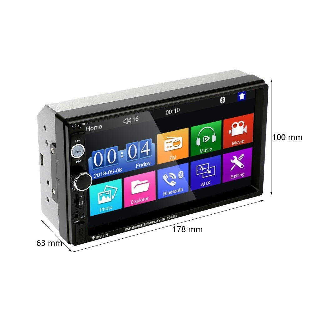 2 Din 7'' HD Touch Screen Autoradio Car Stereo Radio Bluetooth Car MP5 Multimedia Player with FM AUX USB SD Function Support Mirror Link+ with/without 4LED/8LED/12LED CAM