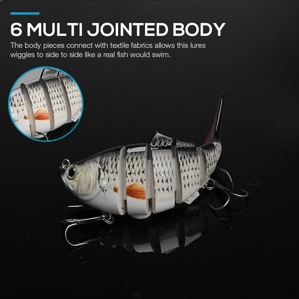 10cm 17.5g Fishing Lure With 6 Hook Fishing Baits 3D Eyes 6-Segment Lifelike Fishing Swimbait Crankbait Artificial Lures Fishing Tackle