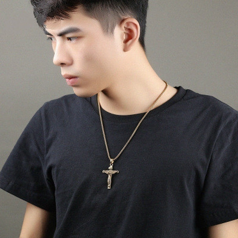 1 PCS Classic Fashion Men's Gold Cross Pendant Necklace Men's Faith Jewelry Mask