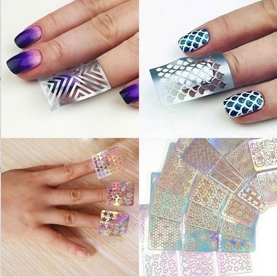 48 Sheet/24 Sheet/12 Sheet/ Nail Art Vinyl Stencil Guide Sticker Manicure Curved Wave Laser Tip New (Size: 1)