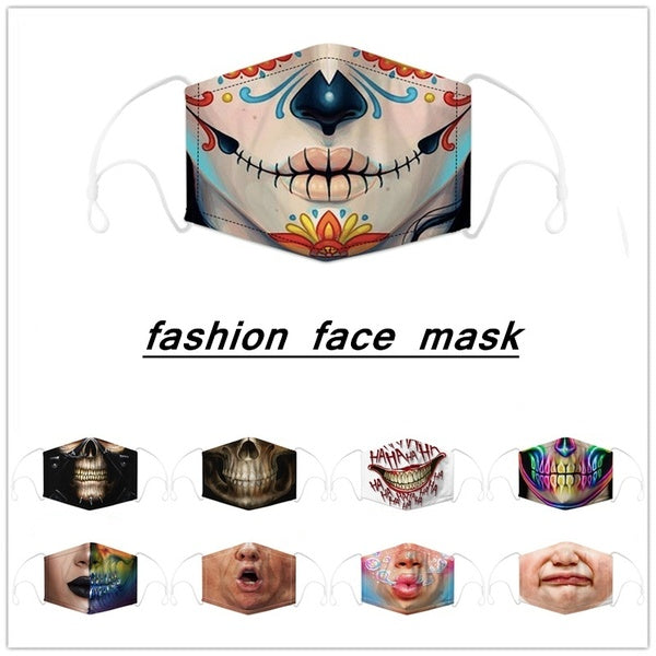 1Pcs Adult Masks Dustproof Face Mask Washable Funny Hip Hop Anime Skull Mask Cartoon Cosplay Costume Accessory
