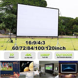 Protble Projector Screen 60/72/84/100/120inch HD 16:9/4:3 Projection Screen Foldable Home Theater Movie Screen Wall Projection for Indoor Outdoor Used