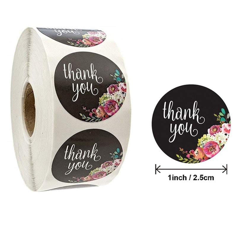500 Stickers/Roll Thank You Stickers Round Kraft Classy Retro Sticker For Sealing Labels Stickers Bags, Boxes, Tissue, Crafters Wedding, Party, Business, Christmas Gifts