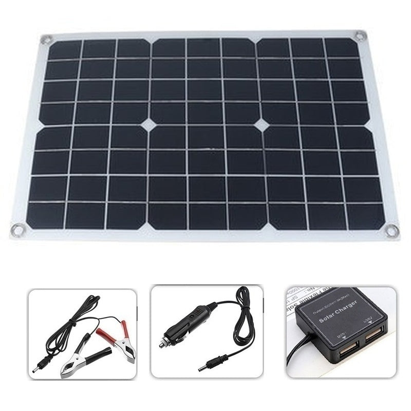 Newest Upgrade 400W solar panel Waterproof and Snowproof Dual Output USB Polysilicon Solar Panel 10-60A 12V 24V Solar Controller(Option) for Home/Outdoor Solar Power Kit