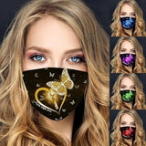 1Pcs Unisex Cute Cartoon Butterfly Printed Mask Dustproof Windproof Cotton Half Face Mouth Mask Black Half Face Mouth Muffle Mask
