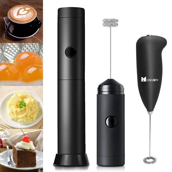 Newest Electric Milk Frother Handheld Battery Operated Electric Foam Maker for Coffee Lattes Cappuccino Matcha and Hot Chocolate Blender and Foamer with Stainless Steel Whisk