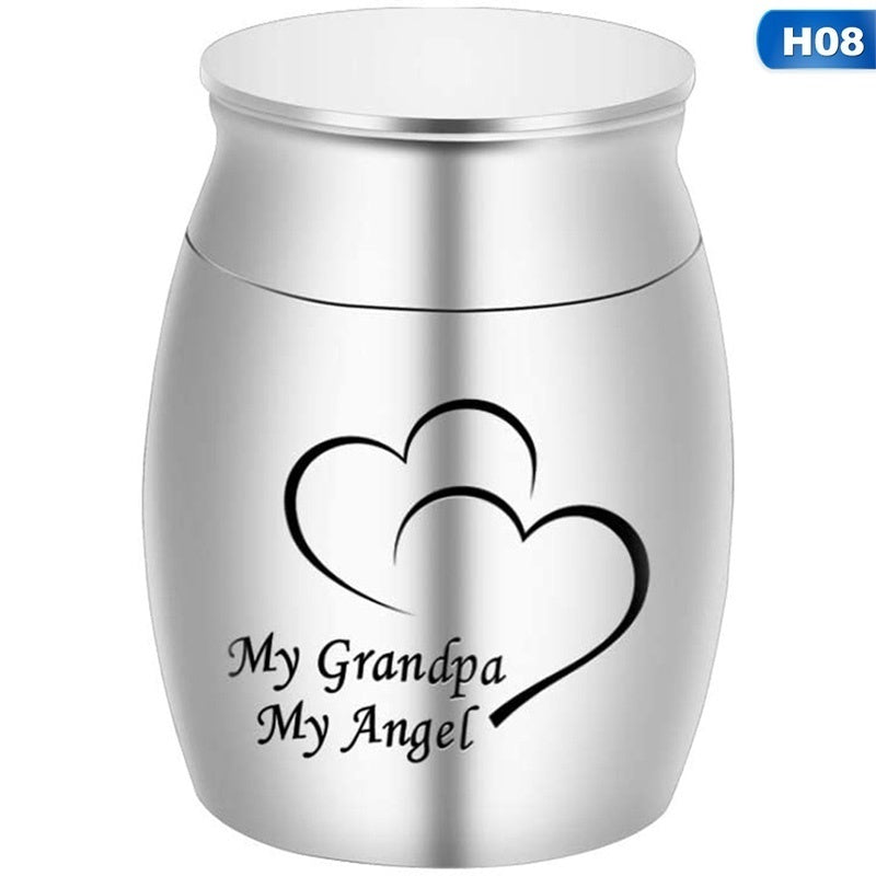 Silver\/Black My Hero My Angle Stainless Steel Urns Family Cremation Ashes Urn Keepsake Casket Columbarium Memorials