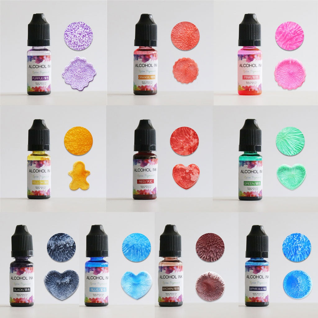 24 Colors 10ML Art Ink Alcohol Resin Pigment Kit Liquid Resin Colorant Dye Ink Diffusion UV Epoxy Resin Jewelry Making JOP