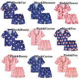 2-6Y Newborn Infant Kids Baby Girls Boys Sleepwear Pajama Sets Cartoon Print Shorts Sleeve Single Breasted Tops&Shorts