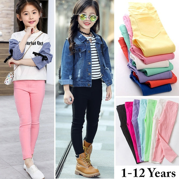 Girls Comfy Stretch Skinny Pants Solid Color Leggings For Kids Children Trousers 1-12Years