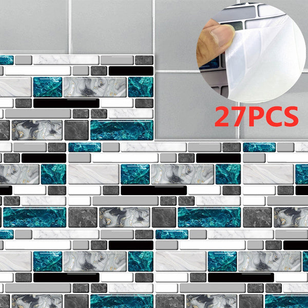 27Pcs Kitchen Tile Stickers Bathroom Blue Grey Marble Bricks Sticker Self-adhesive Wall Tile Decor