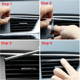 10pcs/set Car-styling Plating Air Outlet Trim Strip Car Interior Air Vent Grille Switch Rim Decoration Strip