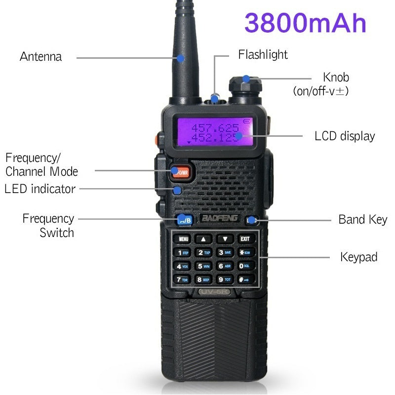 1Pcs BaoFeng UV-5R UHF/VHF  Radio Transceiver 1800mah/3800mah Battery Built-in VOX Walkie Talkie