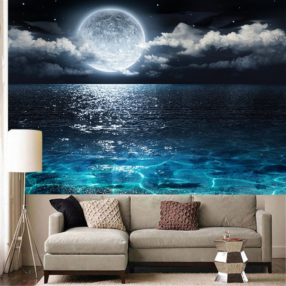 3D Print Sea Moon Night Wall Hanging Tapestry for Bedroom Living Room Decor(95cm X 73cm / 150cm X 100 Cm / 150cm X 130 Cm / 200cm X 150cm)