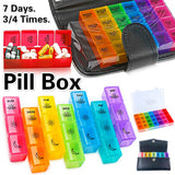 21/28 Grids Weekly Pill Box - 6 Styles - Organizer Prescription Travel Pill Box Reminder Large Pill Container Case for 3/4 Times 7 Days - Week