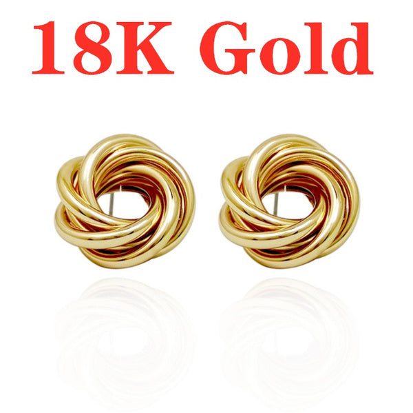 18K Solid Yellow Gold White Gold Stud Earrings For Women Jewelry
