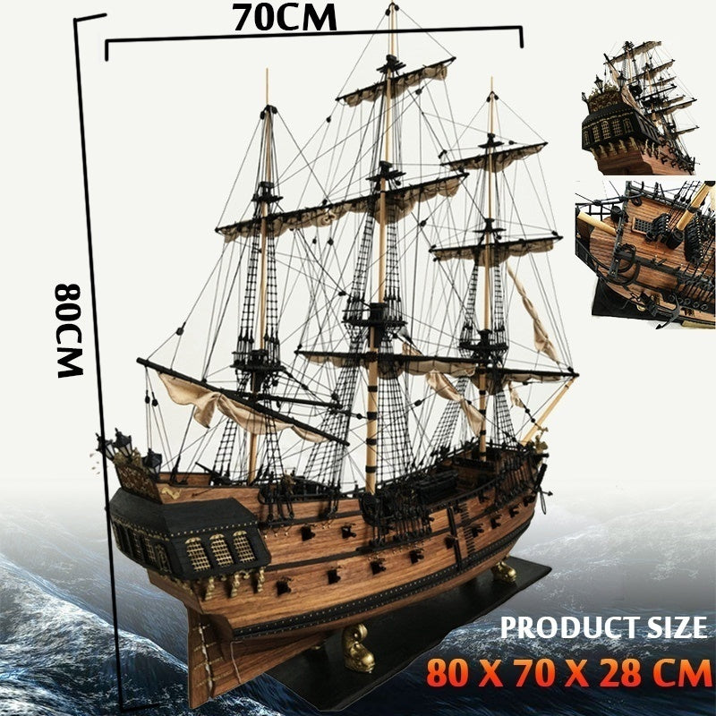 DIY Hand-assembled Boat 80cm Scale Wooden Sailing Model Kit Boat Hand-assembled Decoration Children Gift Boy or Home Decoration